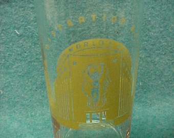 """1939 New York World's Fair Glass Water 5 1/4"""" Administration 1940"""