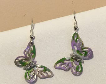 Butterfly earrings, hand painted brass with sterling silver earwires