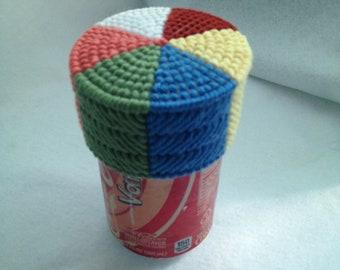 Beach Ball Soda Pop Can Topper Drink Charm Plastic Canvas Cover