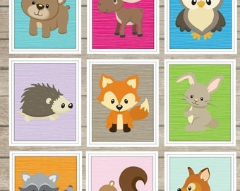 Custom Woodland Animals Wall Art Digital Images ~Boys Girls Room Decor~ Nursery Decor ~ Choose Your Woodland Animals ~ Forest Animals