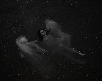 Star Bather - Immersion Series, black and white portrait, dark photo, galaxy, fine art photography print