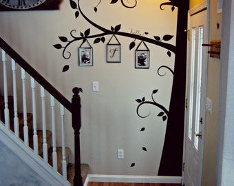 Modern Family Tree Swirls Wall Decal Sticker Picture Frame Tree Branch Leaves Leaf Wall Art Home Decor Living Room