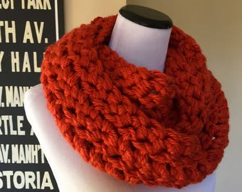 Montreal Hand Crocheted Bulky Infinity Cowl in Burnt Orange - Trendy Circular Scarf