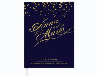 REAL Gold Foil Wedding Guest Book, Personalized Wedding Guest Book, Navy and Gold Wedding, REAL Gold Foil, Authentic Foil, Wedding Book