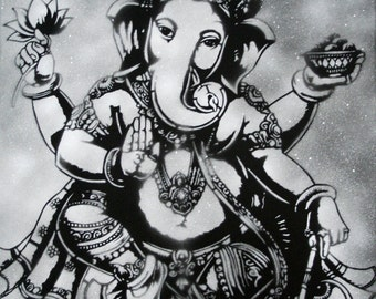 Ganesh / Ganesha Black and White Art Print by Spray Paint Artist Ray Ferrer 11x14 or 20x16