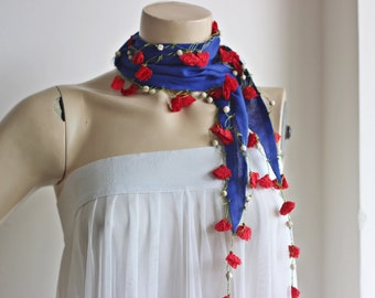 Royal  Scarf with Red Flowers-Crochet Lace Edges-Beaded Scarf-Cotton Scarf