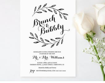 Printable Wedding Brunch Invitation Template, Post Wedding Brunch Invite, Brunch & Bubbly, Instant Download, 100% Editable, DIY #NC-103BR