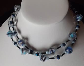 Long Blue Black and Floral Beaded Necklace