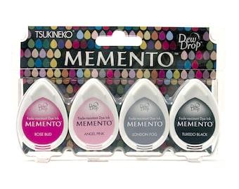 Dew Drop Set 4, Memento Ink Pads, Rose Bud, Angel Pink, Fog Colour, Black Ink, Rubber Stamp Inks