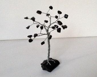 Handmade Gemstone tree. Obsidian & Tourmaline wire tree sculpture. Black tree of life ornament.