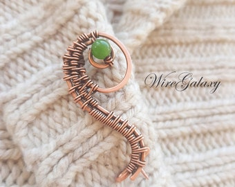 Copper Brooch Caterpillar Wrapped Brooch Chrysoprase  Protection amulet Anniversary Women gifts Art Deco Wire wrap Brooch Elegant Talisman