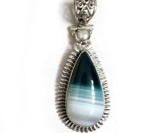 925 Sterling Silver Green Batswana Agate & Pearl Pendant