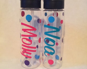 Personalized Water Bottle with Pop up Straw ,  24 oz BPA Free Water bottle