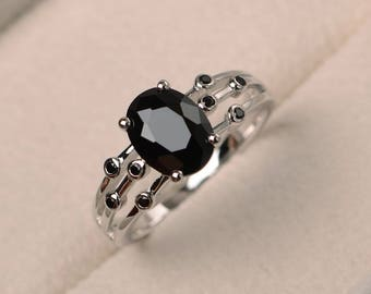 Natural  black spinel ring, promise ring, oval cut black gemstone, sterling silver ring