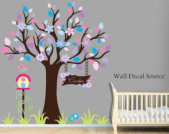 Nursery Wall Decal With Owls, Birds, Flowers - Monogram - Baby - Vinyl Sticker