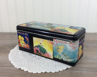 Art Nouveau Cookie Tin ''Charles Delacre - Paris'' / Vintage Tin Container from Belgian Chocolate Fingers Manufacturer / Made in France