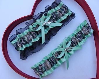 New Mint Green Black Mossy Oak Camouflage Camo Wedding Garter Prom GetTheGoodStuff