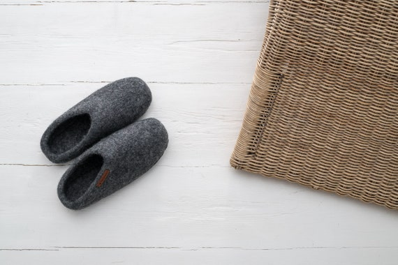 handmade 100 leather Feltiness sole with Slippers Felt Wool W4HqFIwn