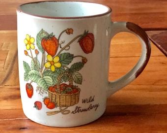 Mid Century Wild Strawberry Stoneware Mug.