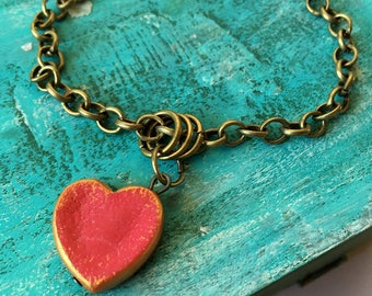 Valentine's  Gift for mom , Valentine Jewelry, Heart Bracelet, Bronze Chain Bracelet, Letter Heart Charm, Rustic Clay, Red Heart