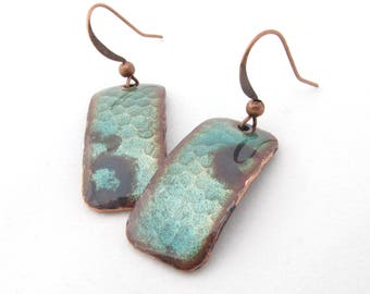 Patina Green Hammered Rectangle Earrings