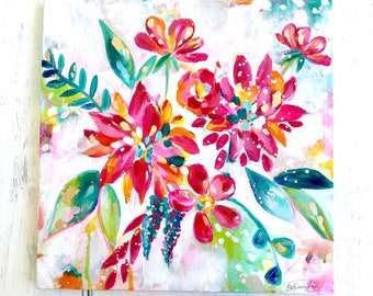 Original colorful floral painting with Gold Accents / Unique, colorful home decor / 12x12 inch original canvas / Happy Art / Funky Flowers