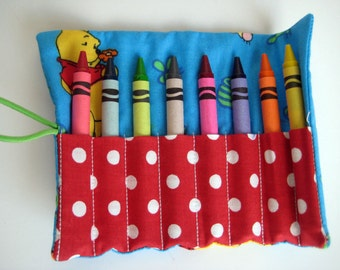 Crayon Roll Wallet Winnie the Pooh, Tigger and Piglet Includes 8 Crayons