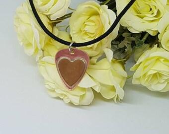 Copper guitar pick necklace / brass heart/ heart necklace / Copper necklace / guitar pick pendant / anniversary gift / heart pendant