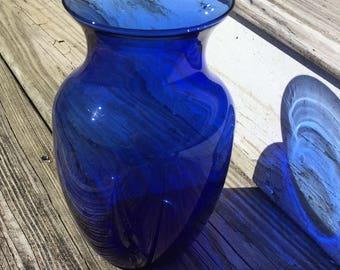 Vintage Cobalt Blue Glass Vase 8 Inch