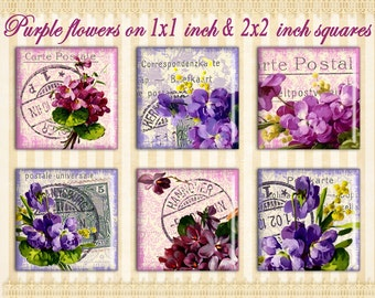 Purple Lavender flowers on 1x1 inch & 2x2 inch squares Digital collage sheet Printable sheet for Jewelry pendants Gift tags Paper goods