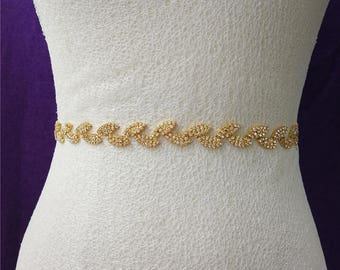 Gold Sash Belt,Wedding Belt,Gold Wedding Belt,Crystal Rhinestone,Bridal Belt,Wedding clasp belt,Sapphire Bridesmaid Belt-A71