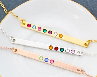 Grandma Birthstone Bar Necklace • Mother's Day Long Bar Gold Birthstone Necklace • Mom Silver Bar Skinny • Rose Gold Jewelry BB_18