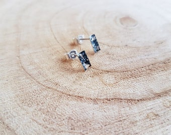 Tiny Rectangle Enamel Studs in Blue/Silver