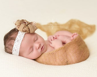 Gold Mohair Knit Baby Wrap Newborn Photography