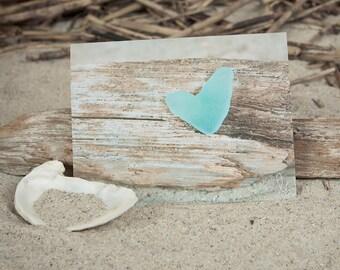 Heart Shaped Sea Glass Note Card | Lisa Vohwinkel Photography | Beach Glass Stationery | Love Note Card | Coastal NoteCard | Sea Glass Heart