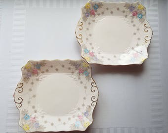 Vintage Sandwich Plate, By Tuscan Plant. 1930s Square Cake Plate or Serving Platter With Hand Painted Flowers. Two Pretty Plates Available
