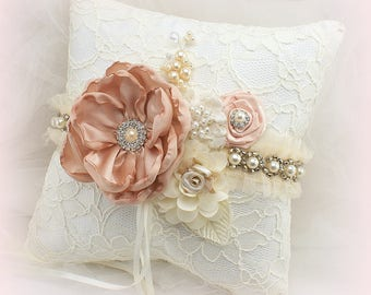 Ring Bearer Pillow, Ivory, Cream, Blush, Elegant Wedding, Lace Pillow, Pearls, Crystals, Square, Romantic, Vintage Style, Gatsby Wedding