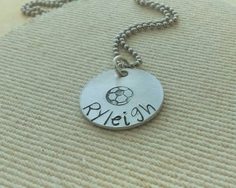 Soccer necklace, girls soccer jewelry