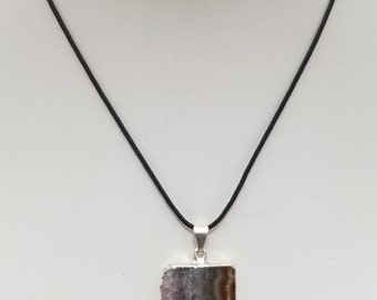 Amethyst Slice Pendant Necklace, Free Shipping (E17087), Amethyst Geode Necklace, Pendantlady,pq