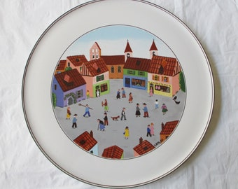 "11.75"" Villeroy & Boch Round Cake Plate, DESIGN NAIF, Old Village Square (c. 1980s)"