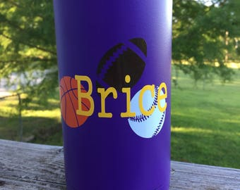 Sports decal, your choice of 3 sports, custom name decal
