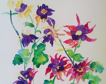 Columbine watercolor painting, Columbine original watercolor painting