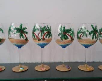 holiday beach wine glasses set palm trees summer party time gifts celebration