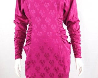 Ungaro Parallele Fuschia Pink Silk Ruched 80's Dress - Size 6