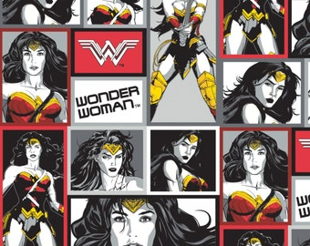 Multi Wonder Woman Blocks Cotton Fabric from Camelot Fabrics