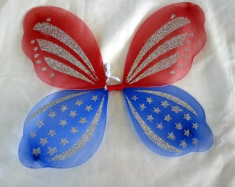 PATRIOTIC FAIRY WINGS,  July 4th. Independence Day.