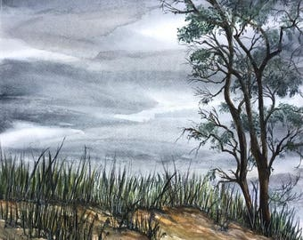 Original Watercolor Fine Art,Summer,Sandy Beach, Mounds of Sand,Trees and Gray Skies,Pentwater in West Michigan, by Janet Dosenberry