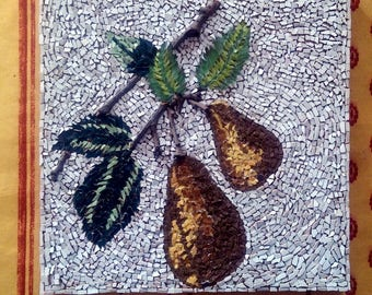micro-mosaic of still life painting: pears.