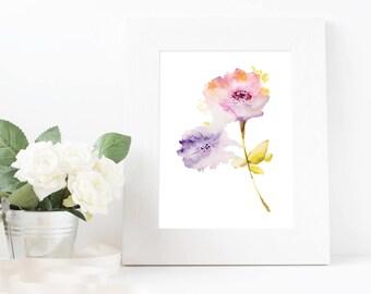 Watercolor Flower Digital Print, Nursery Wall Art Printable, Girls Room Print, Floral Art Print, Floral Wall Decor, Home Decor, Wall Decor