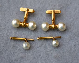 Faux Pearl Cufflinks and Shirt Studs Vintage